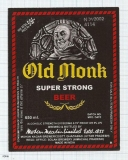 INDIA - Mohan Meakin Brew Ghaziabad - OLD MONK - beer label