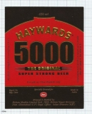 INDIA - Mohan Meakin Brew Ghaziabad - HAYWARDS 5000 - beer label