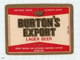INDIA - Khoday Brew Bangalore - BURTON'S EXPORT - beer label