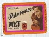 GERMANY - Paderborner Brau Paderborn - ALT woman - beer label