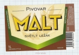 CZECH REPUBLIC - Micro, Pivovar Malt Ceske Budejovice - Svetly Lezak beer label