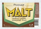 CZECH REPUBLIC - Micro, Pivovar Malt Ceske Budejovice - Konopne - Beer label