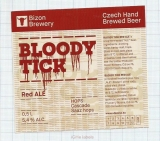 CZECH REPUBLIC - Micro, U Bizona Čižice Štěnovice - BLOODY TICK - Beer label