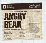 CZECH REPUBLIC - Micro, U Bizona Čižice Štěnovice - ANGRY BEAR - Beer label