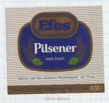 TURKEY - Efes Brewery - EFES PILSENER herb frisch - beer label