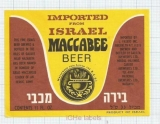 ISRAEL - Cabeer Breweries Ltd., Tel Aviv - MACCABEE BEER - Beer label