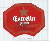 SPAIN - Damm Barcelona - ESTRELLA - beer label