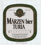 SPAIN - El Turia Valencia - MARZEN TURIA - beer label
