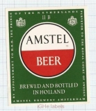 HOLLAND - Amstel, Amsterdam - AMSTEL BEER - beer label