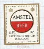 HOLLAND - Amstel, Amsterdam - AMSTEL HOLLAND BEER - beer label