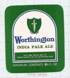 ENGLAND (UK) - Worthington & Co Burton-On-Trent - INDIA PALE ALE - beer label