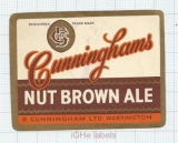 ENGLAND (UK) - B.Cunningham Warrington - NUT BROWN ALE - beer label