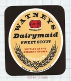 ENGLAND (UK) - Watney Mann Ltd London - DAIRYMAID Sweet Stout  - beer label