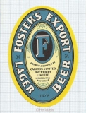 AUSTRALIA - Carlton & United Brew Melbourne - FOSTER'S EXPORT LAGER - beer label
