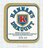 AUSTRALIA - Kalgoorie Brew Co - HANNAN'S DRAUGHT - beer label