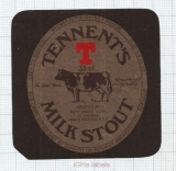 SCOTLAND (UK) - Tennent Caledonian Brew Glasgow - MILKS STOUT - beer label