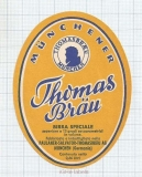 GERMANY - Paulaner Salvator Thomas Brau Minich - DARK BEER - beer label
