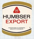 GERMANY - Patrizier Bräu Nurnberg - HUMBSER EXPORT - beer label