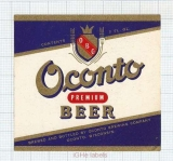 US - Oconto Brew Co Oconto WI - PREMIUM BEER - beer label