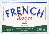 France - FRENCH LAGER, by ASDA - beer label