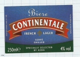 France - CONTINENTALE, French Lager, by ASDA - beer label
