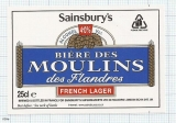 France - Biere des Moulins, des Flanders, SAINSBURY'S - beer label