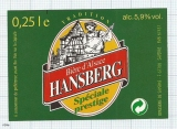France - Saverne, HANSBERG, Biere d'Alsace - beer label
