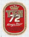 NEW ZEALAND - NZB, Auckland, TEN 72 KINGS Brew - beer label