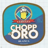 ARGENTINA - Zárate, SABMiller - CHOPP DE ORO - beer label