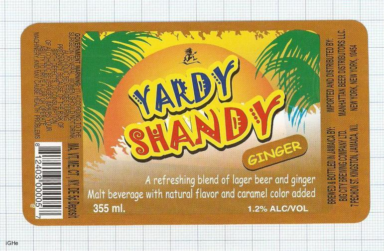 JAMAICA - Big City Brew Co Kingston - YARDI SHANDY GINGER - beer label