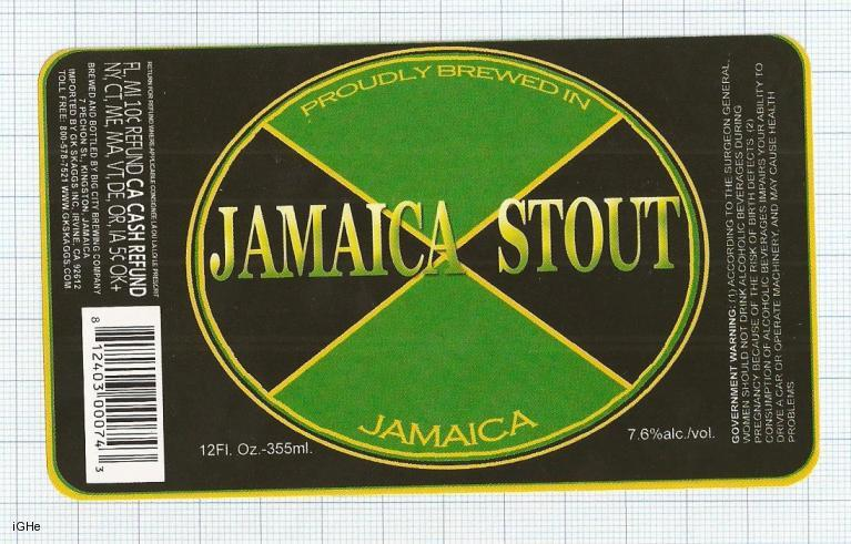 JAMAICA - Big City Brew Co Kingston - JAMAICA STOUT - beer label