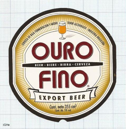 BRAZIL - InBev Brasil Sao Paolo - OURO FINO export beer - beer label