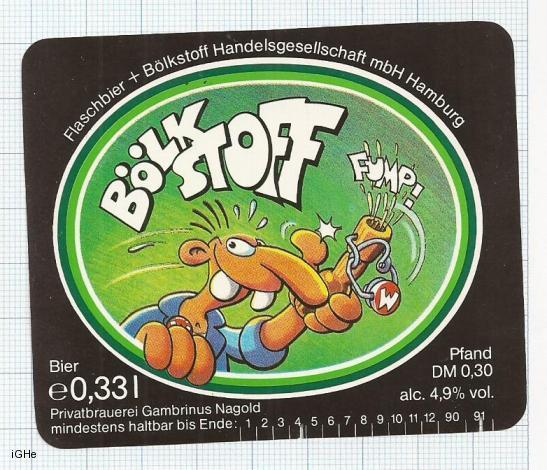 GERMANY - Privatbrau Gambrinus Nagold - Bölkstoff - beer label