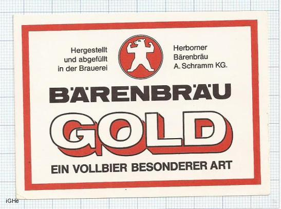 GERMANY - Herborner Bärenbräu A.Schramm - GOLD bear - beer label
