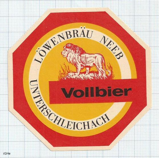 GERMANY - Lowenbräu Neeb - VOLLBIER lion - beer label