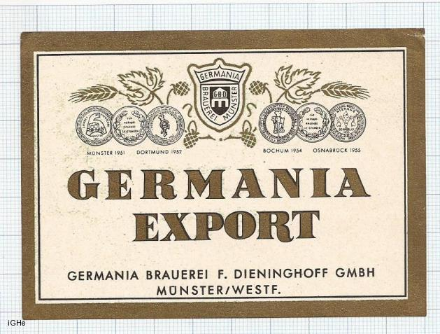 GERMANY - Brau Dieninghoff Munster - GERMANIA EXPORT- beer label