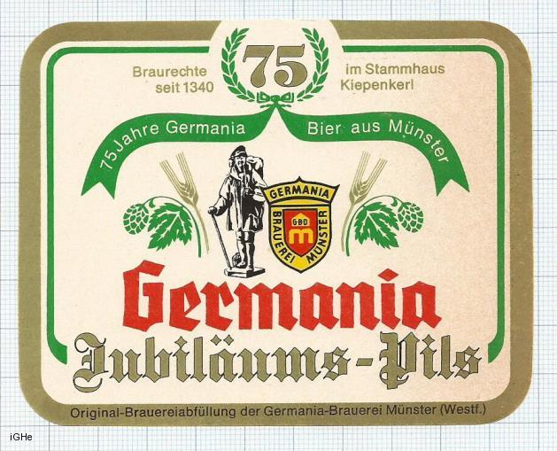 GERMANY - Germania Brauerei Munster - JUBILEUMS PILS 75Jahre - beer label