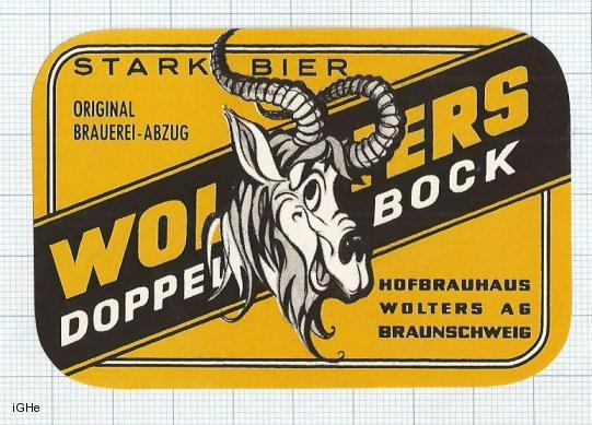 GERMANY - Hofbrauhaus Wolters Braunschweig - DOPPEL BOCK - beer label