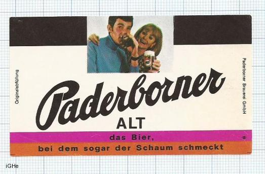 GERMANY - Paderborner Brau Paderborn - ALT - beer label