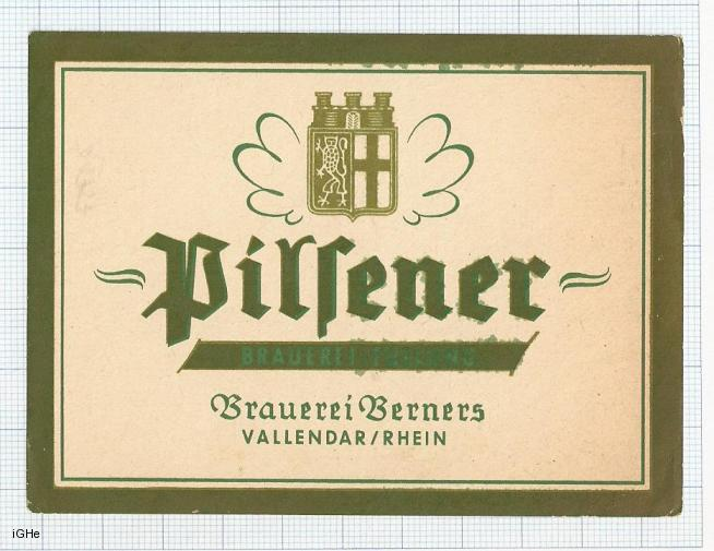GERMANY - Brau Berners Vallendar - PILSENER - beer label