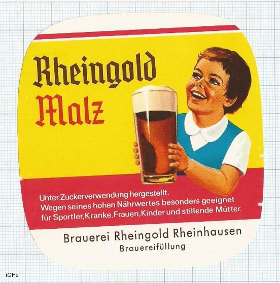 GERMANY - Brau Rheingold Rheinhausen - MALZ - beer label