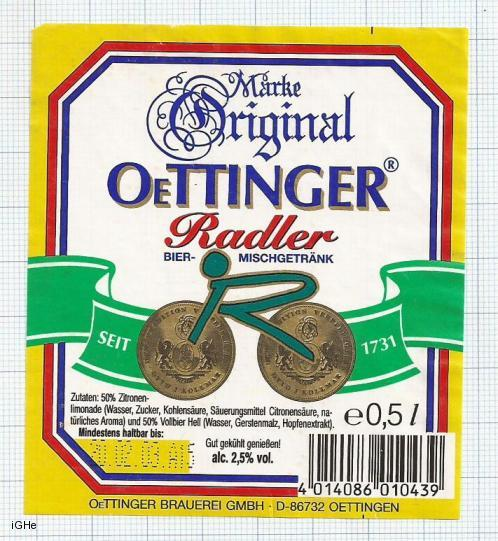 GERMANY - Brauerei Oetinger - RADLER - beer label