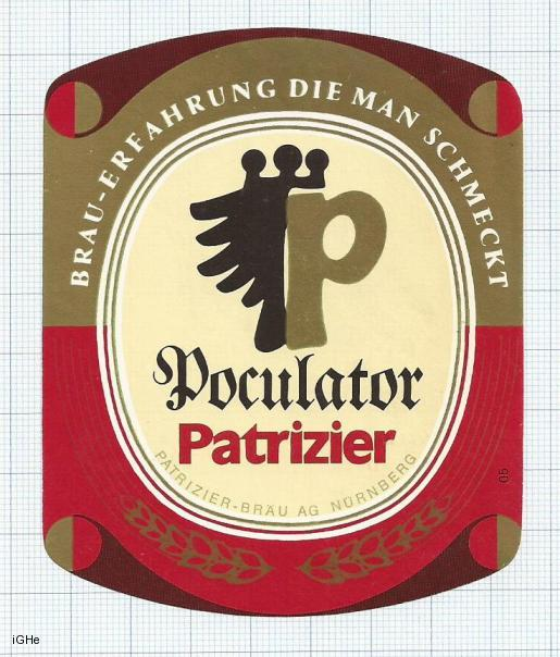 GERMANY - Patrizier Bräu Nurnberg - POCULATOR  - beer label