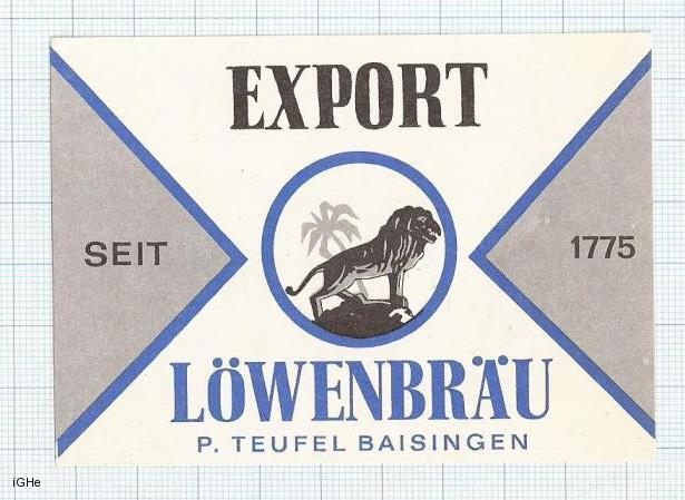 GERMANY - Löwenbrauäu P.Teufel Baisingen - EXPORT - beer label