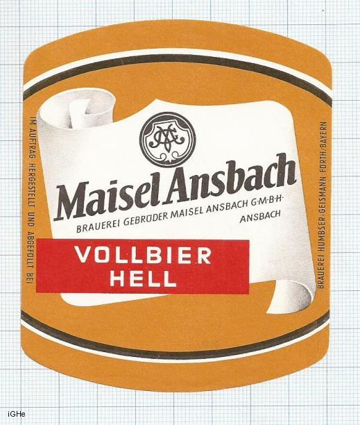 GERMANY - Humbser-Geismann Fürth - MAISEL ANSBACH VOLLBIER - beer label