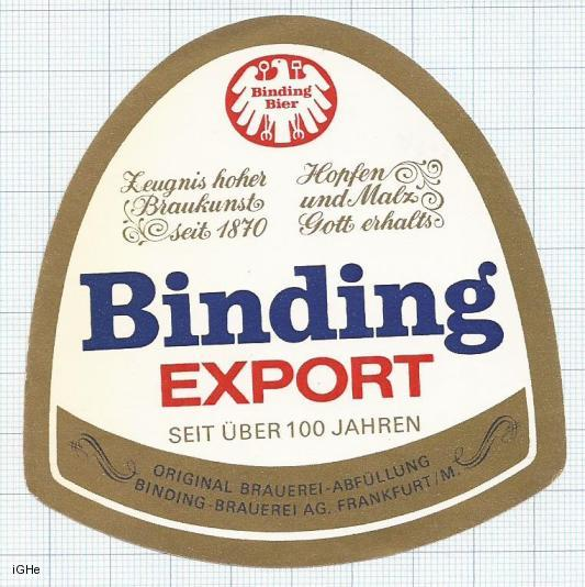 GERMANY - Binding Brau Frankfurt - BINDING EXPORT - beer label