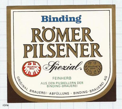 GERMANY - Binging Brau Frankfurt - BINDING ROMER PILSENER - beer label
