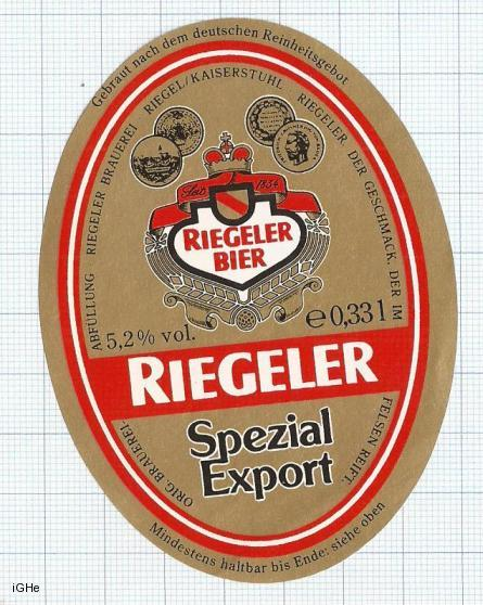GERMANY - Brau Riegel Kaiserstuhl - SPEZIAL EXPORT - beer label