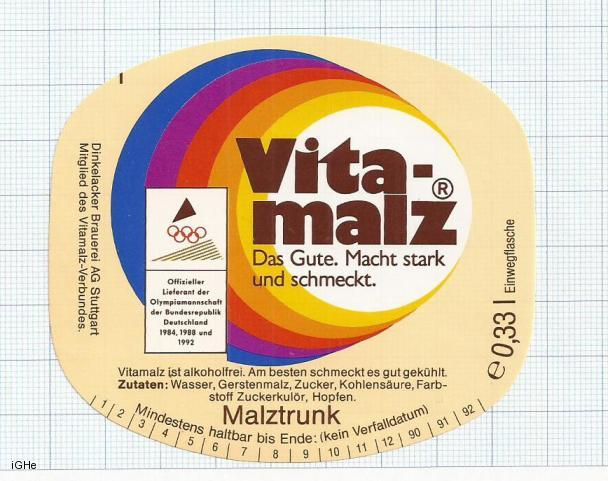 GERMANY - Dinkelacker Brauerei Stuttgart - VITA MALZ - beer label