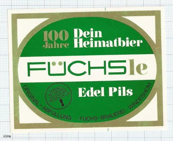 GERMANY - Fuchs Brauerei Windesheim - FUCHS EDEL PILS - beer label